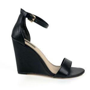 Sexy Black Ankle Strap Sandal Wedge Heel | 7